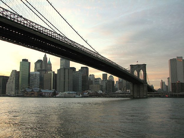 Brooklyn Bridge with true Manhattan background